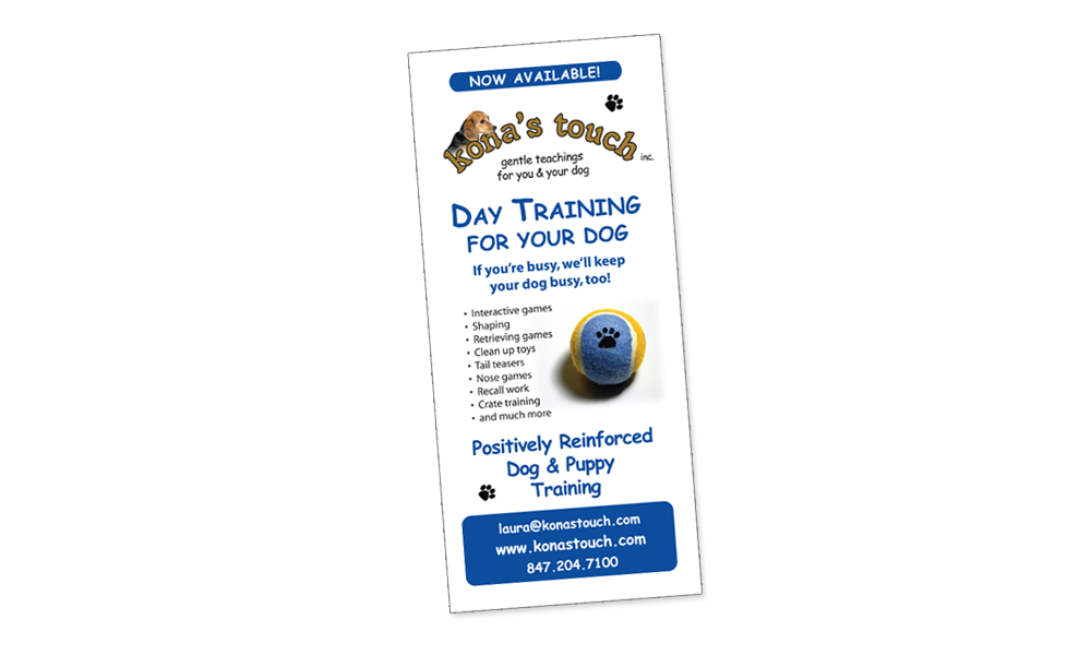 dog training rackcard